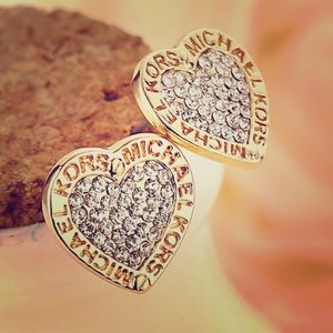 Michael Kors gold tone pave heart logo earrings